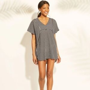 Black & White Stripe Woven Kaftan Cover Up Dress